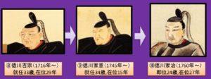 徳川吉宗直系(徳川吉宗、家重、家治)