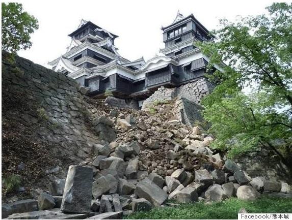 倒壊した熊本城の石垣(熊本城Facebookより)